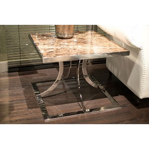 Stone International Aurora Lamp Table - Marble And Polished Stainless Steel