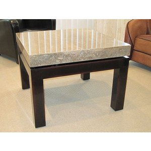Stone International Cadi Lamp Table - Marble And Lacquered Antique Brown