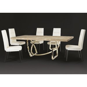 Stone International Tangle Boxed Edge Dining Table - Marble And Stainless Steel