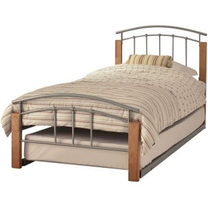 Tetras Beech And Silver Metal Guest Bed - Serene Furnishings