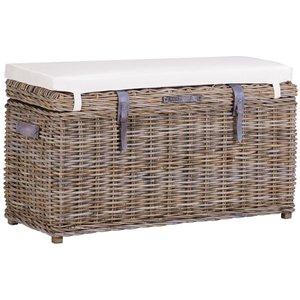 The Wicker Merchant Kooboo Grey Trunk Bench With Cushion, Kooboo Grey