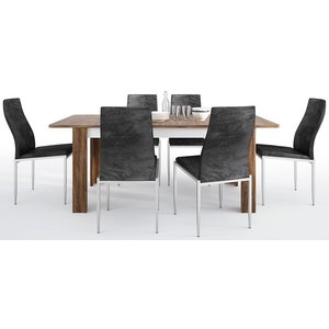 Furniture To Go Toledo Extending Dining Table And 6 Milan Black Chairs - Oak And High Gloss White, Oak and High Gloss White