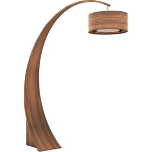 Tom Schneider Swoop Floor Light With Wooden Shade