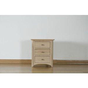Fortune Woods Toulouse Oak Bedside Cabinet - 3 Drawer Tsb30