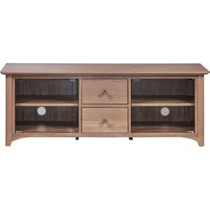 Fortune Woods Toulouse Oak Large Tv Unit With Glass Doors, Blonde Matt Lacquered