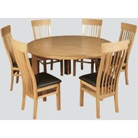 Annaghmore Treviso Oak Round Dining Table And 6 Chairs, Oak
