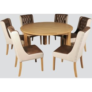 Annaghmore Treviso Oak Round Dining Table And 6 Olivia Chairs, Oak