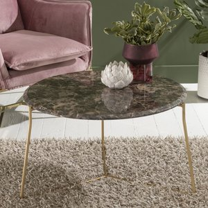 Urban Deco Trio Brown Emperador Marble Round Coffee Table - Gold Metal Base