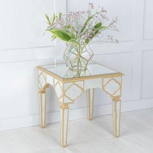 Urban Deco Casablanca Gold Trim Mirrored Side Table, Gold Mirrored