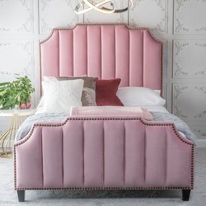 Urban Deco Charlotte Blush Pink Fabric 4ft 6in Double Bed, Blush Pink