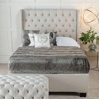 Urban Deco Duchess Oatmeal Fabric 5ft King Size Ottoman Storage Bed, Oatmeal