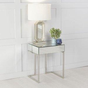 Urban Deco Fenwick Mirrored Side Table, Mirrored