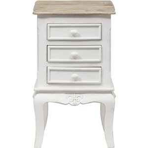 Urban Deco Fleur French Style Distressed Painted 3 Drawer Bedside Cabinet, Distressed White
