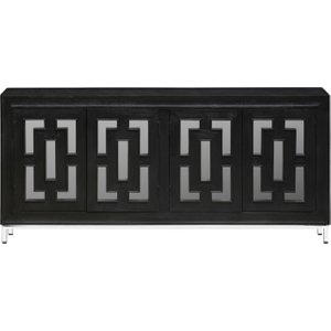 Urban Deco Geo Black Mirrored And Stainless Steel Chrome Base 4 Door Sideboard