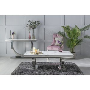 Urban Deco Glacier Coffee Table - White Marble And Stainless Steel Chrome, white