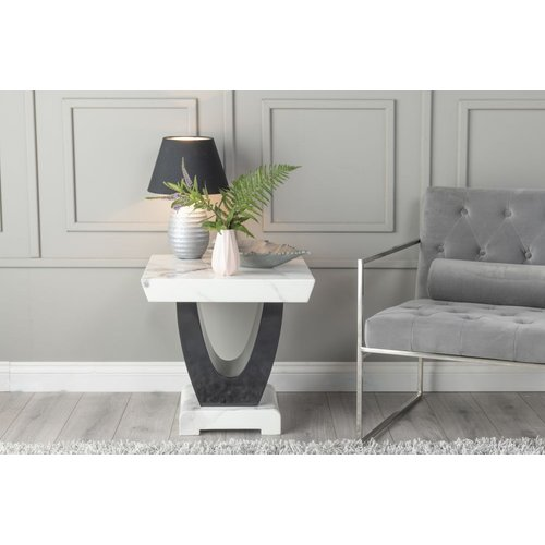 Urban Deco Madrid White Marble Side Table, White and Black High Gloss W 57cm x D 57cm x H 57cm