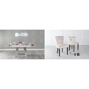Urban Deco Milan 180cm Grey Marble Dining Table And 6 Sandringham Champagne Chairs, Grey