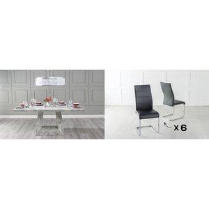 Urban Deco Milan 200cm Grey Marble Dining Table And 6 Malibu Black Chairs, Grey