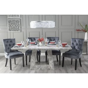 Urban Deco Milan 200cm Grey Marble Dining Table With 6 Grey Knockerback Chairs, Grey