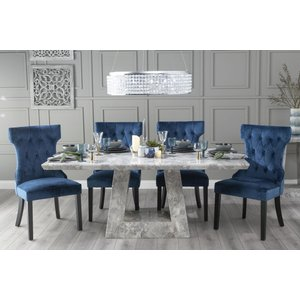 Urban Deco Milan 200cm Grey Marble Dining Table With 6 Courtney Blue Chairs, Grey