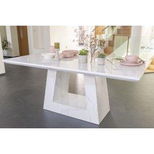 Urban Deco Milan White Marble 160cm Rectangular Dining Table, White