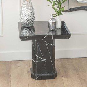 Urban Deco Naples Black Marble Lamp Table