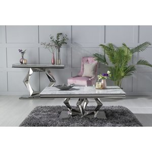 Urban Deco Octa Grey Marble And Chrome Coffee Table, Grey and Chrome