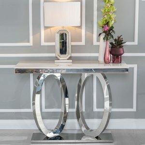 Urban Deco Orbit Cream Marble And Chrome Console Table, Cream and Chrome