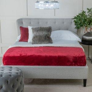 Urban Deco Palma Light Grey Fabric Bed