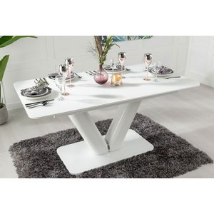 Urban Deco Panama White Glass 160cm-200cm Extending Dining Table, White, Glass and Ceramic Effect