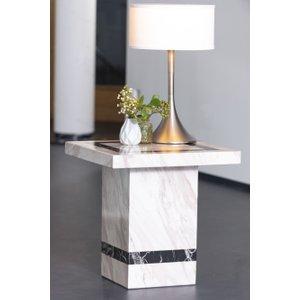 Urban Deco Rome Cream Marble Lamp Table, Cream