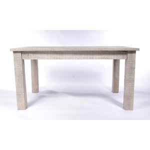 Urban Deco Shabby Chic White Washed Distressed Rectangular Dining Table - 150cm, White Washed