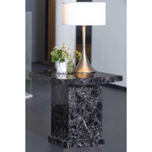Urban Deco Turin Black Marble Square Lamp Table, Black