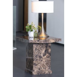 Urban Deco Turin Brown Marble Square Lamp Table, Brown