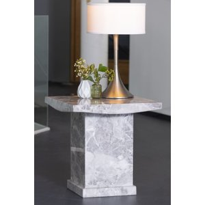 Urban Deco Turin Grey Marble Square Lamp Table, Grey