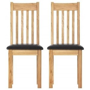 Besp Oak Vancouver Compact Oak Dining Chair With Bi-cast Leather Seat (pair)