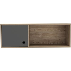 Cfs Value Vegas Grey Melamine Wall Storage Unit, Bleached Oak Effect and Grey
