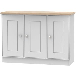 Welcome Furniture Victoria 3 Door Sideboard - Grey And Riviera Oak