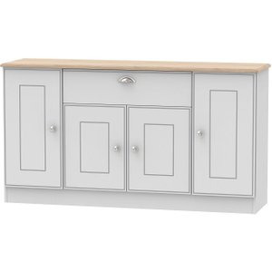 Welcome Furniture Victoria 4 Door 1 Drawer Wide Sideboard - Grey And Riviera Oak