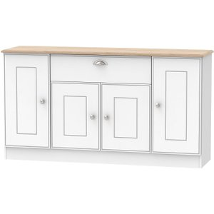 Welcome Furniture Victoria 4 Door 1 Drawer Wide Sideboard - White Ash And Riviera Oak