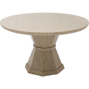 Vida Living Alfredo 130cm Beige Round Marble Dining Table, Beige