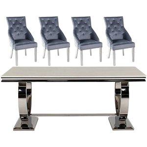 Vida Living Arianna 180cm Cream Marble Dining Table With Grey Knockerback Chrome Leg Chair, Table : Cream and Chrome<br>Chair : Grey and Chrome