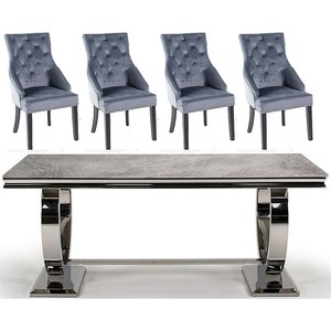 Vida Living Arianna 200cm Grey Marble Dining Table With Grey Knockerback Chairs, Table : Grey and Chrome<br>Chair : Grey and Black