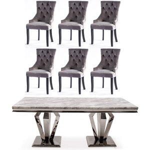 Vida Living Arturo 180cm Grey Marble Dining Table And 6 Grey Knockerback Chairs, Grey and Chrome