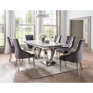 Vida Living Arturo 180cm Grey Marble Dining Table With Belvedere Pewter Velvet Chairs, Grey and Chrome