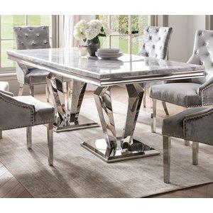 Vida Living Arturo 200cm Grey Marble Dining Table, Grey and Chrome