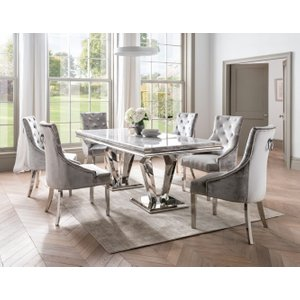 Vida Living Arturo Grey Marble Dining Table And Chairs - Chrome And Champagne Velvet, Grey