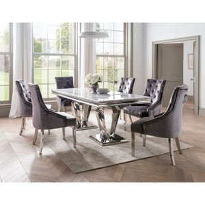 Vida Living Arturo Grey Marble Dining Table And Chairs - Chrome And Pewter Velvet, Grey