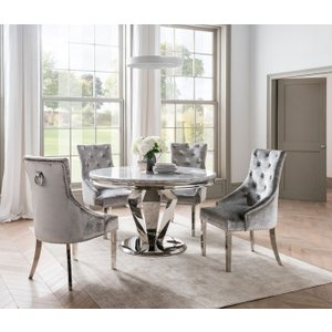 Vida Living Arturo Round Grey Marble Dining Table And Chairs - Chrome And Champagne Velvet, Grey