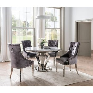 Vida Living Arturo Round Grey Marble Dining Table And Chairs - Chrome And Pewter Velvet, Grey